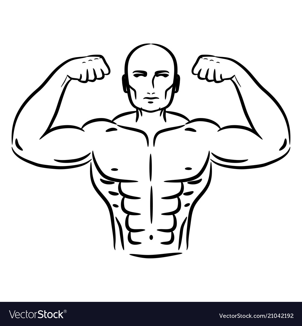 Bodybuilder sketch hand drawn silhouette