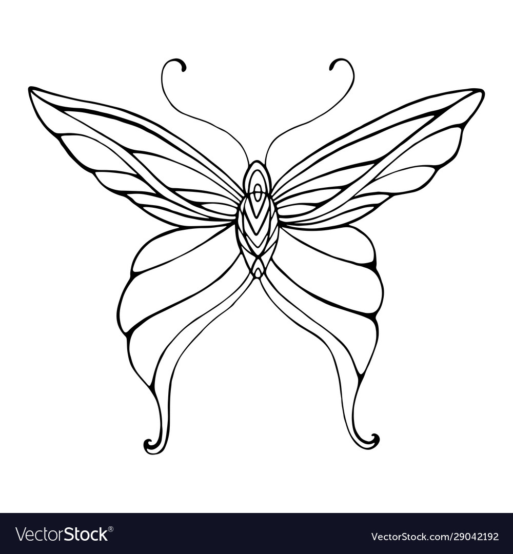Butterfly graceful decorative coloring page vector