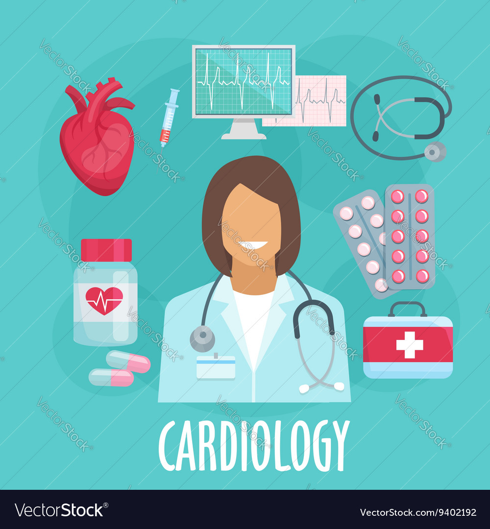 Cardiology flat icon with doctor and medicines