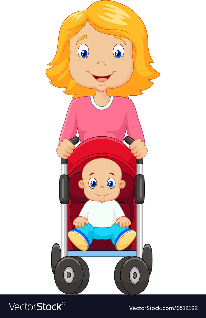 3c4815190852 Cartoon a mother pushing a baby stroller Vector Image