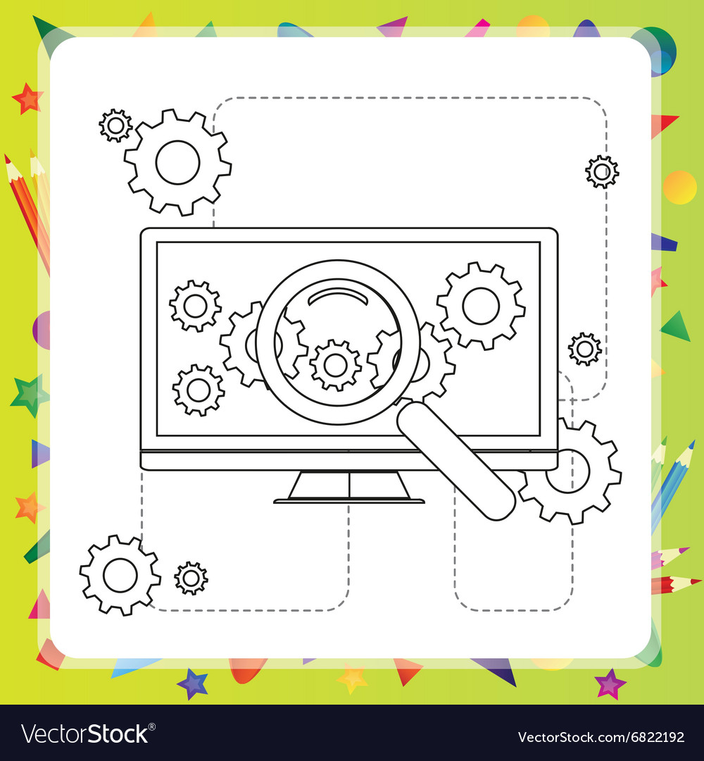 Coloring book computer Royalty Free Vector Image