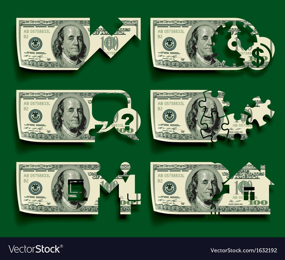 Dollars icons set vector image