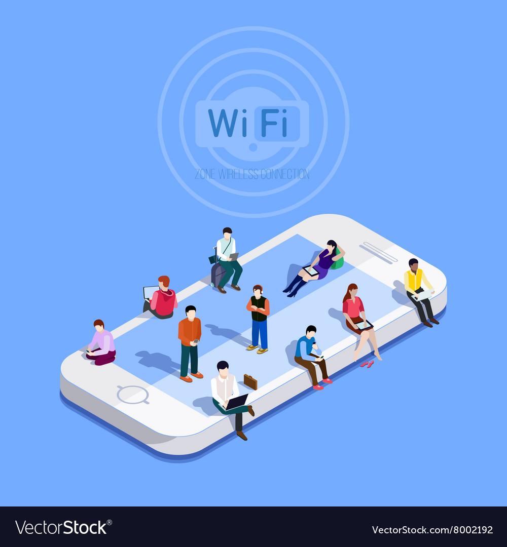 Flat metaphor People in wi-fi zone