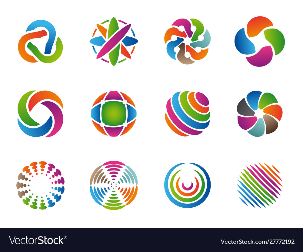 Globe abstract logo colored business circles