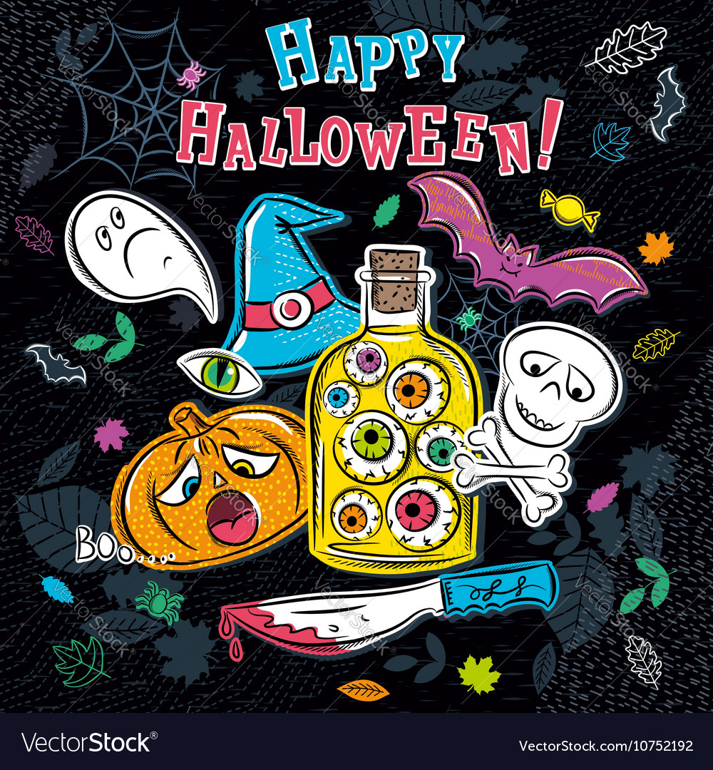 Halloween greeting card with ghost pumpkin vector image
