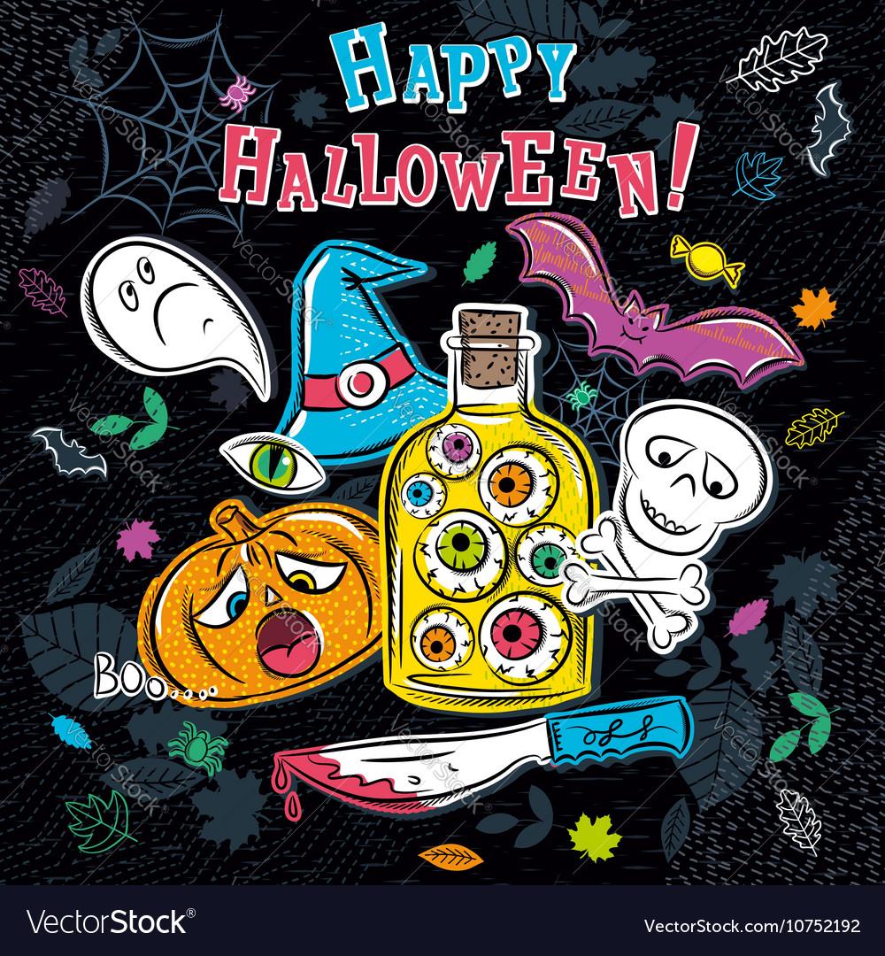 Halloween greeting card with ghost pumpkin