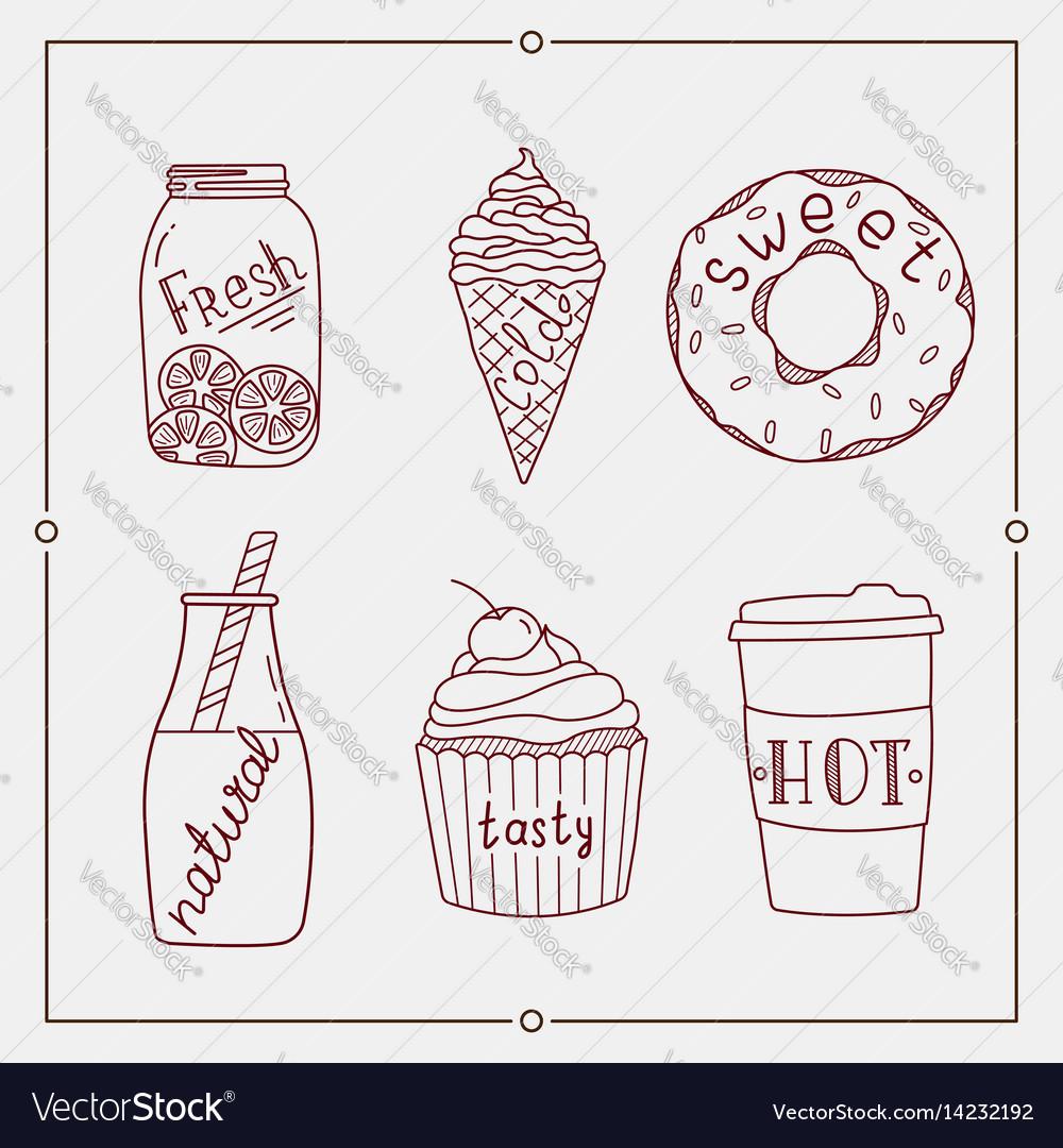 Hand drawn summer desserts and drink elements