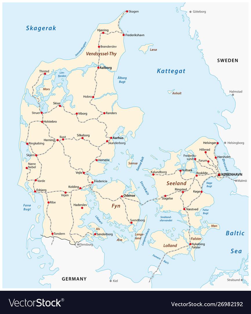 Map main railroad tracks in denmark