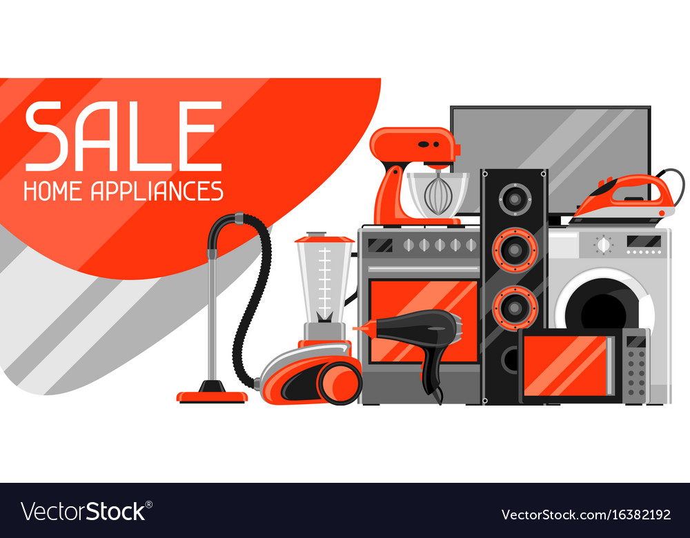 Sale Banner With Home Appliances Household Items