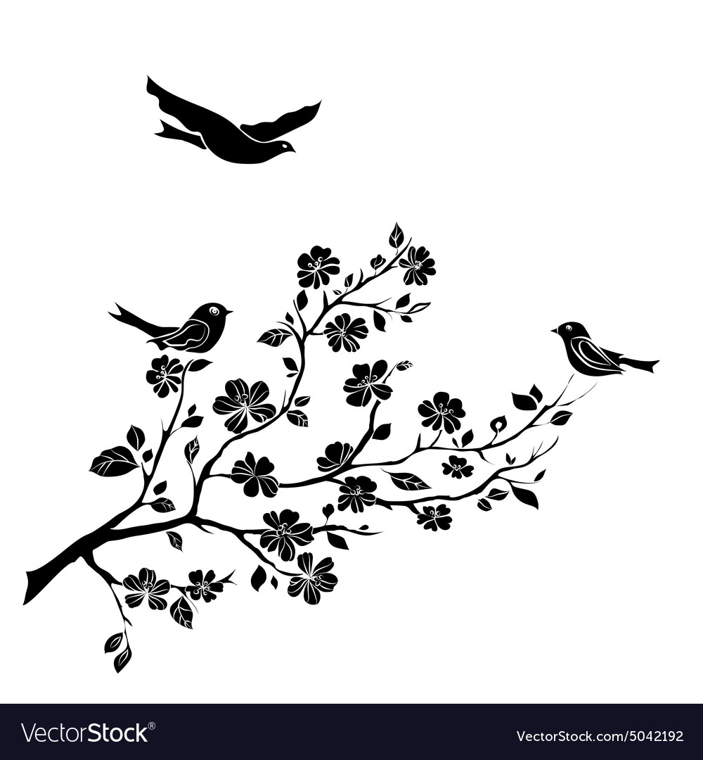 Twig cherry blossoms and birds