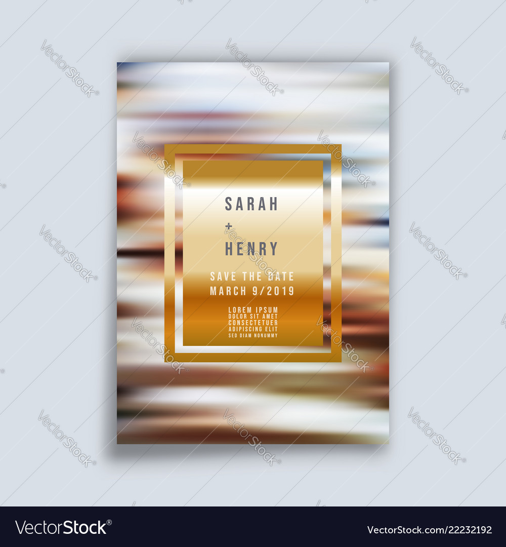 Wedding card with gold frame and gradient stripes
