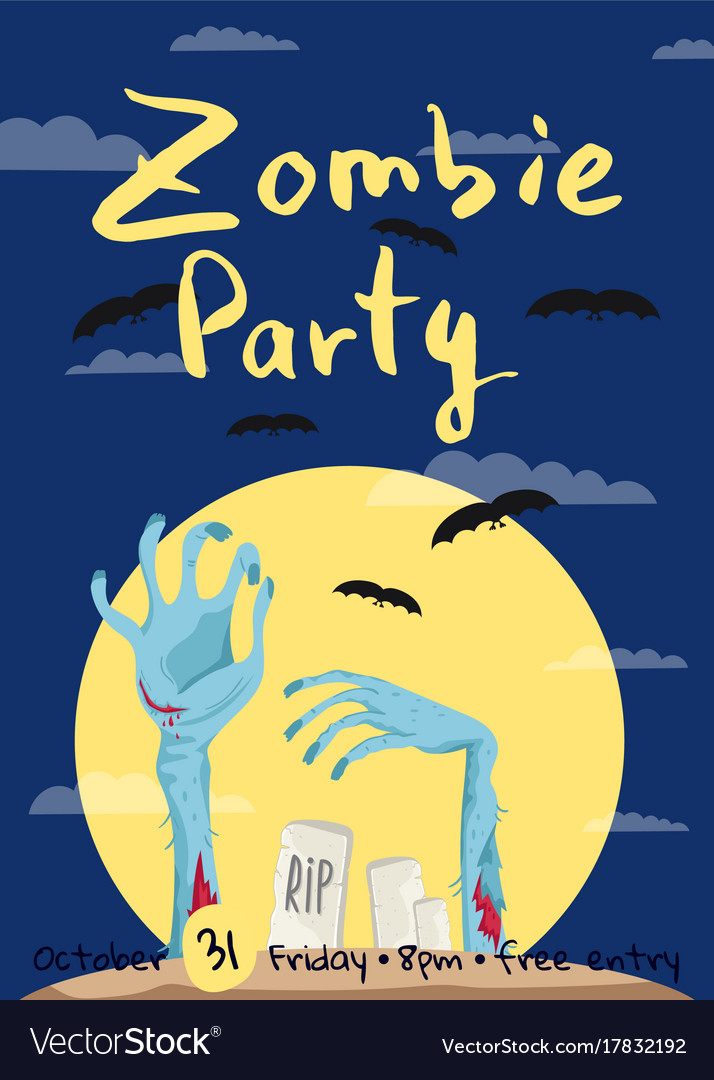 Zombie party poster with zombies hands