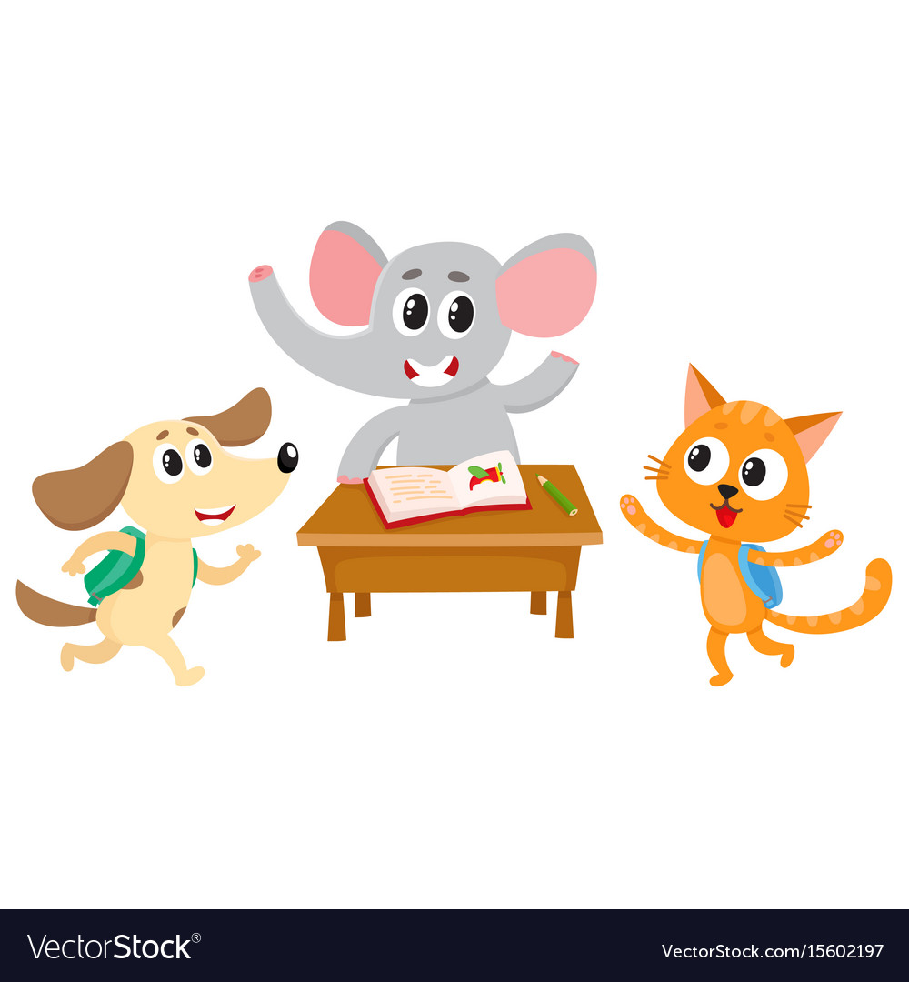 Animal students - elephant cat and dog back to
