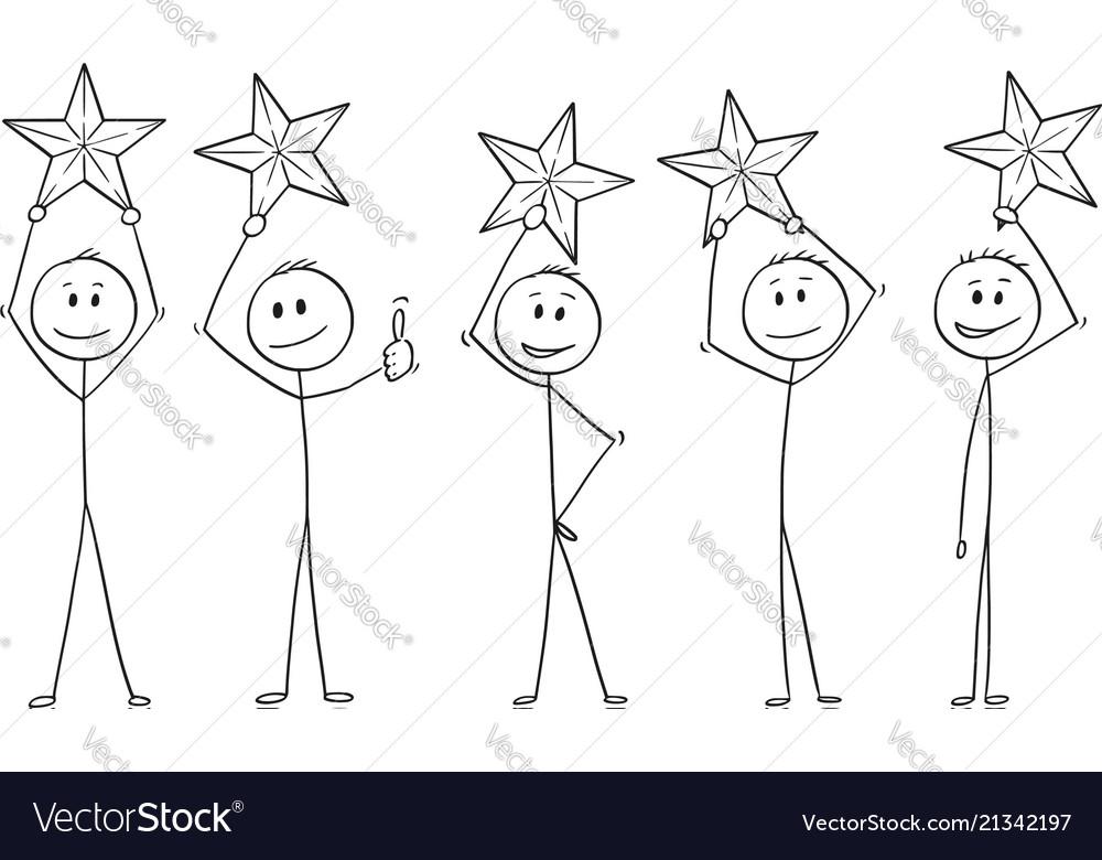 Cartoon of five men or businessmen holding stars