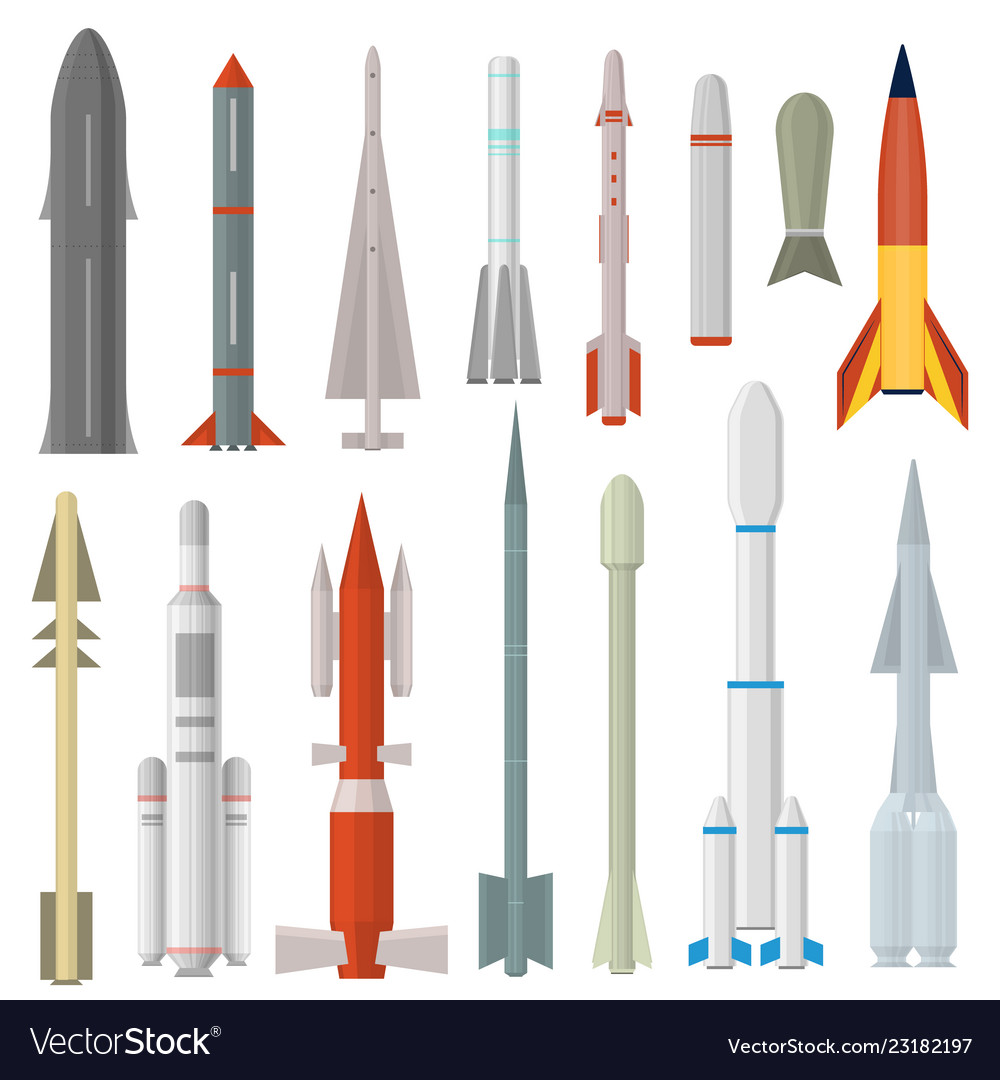Cartoon rocket weapon icon set different type