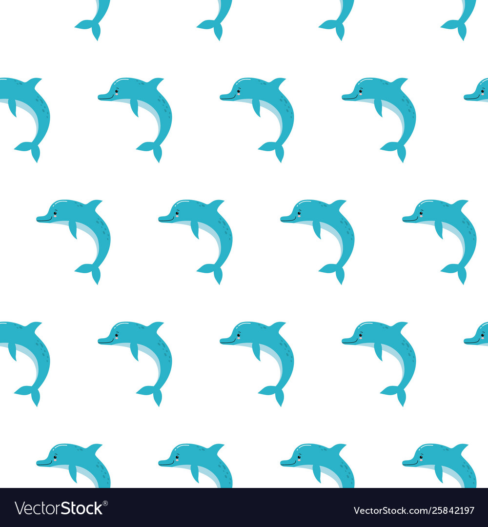 cute dolphins seamless pattern background summer vector image  vectorstock
