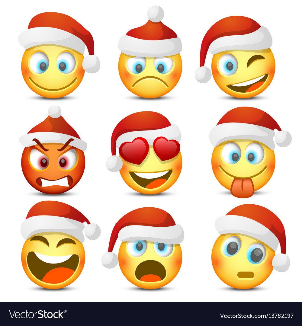 Emoji and sad new year hat icon set