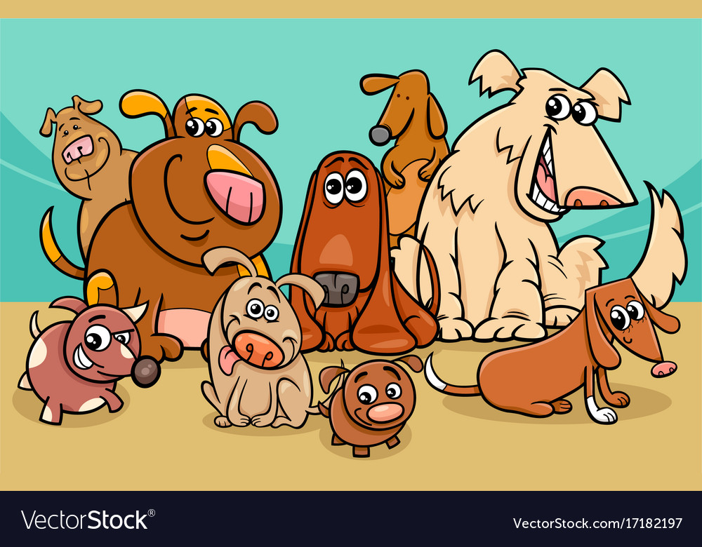 Funny dog characters group cartoon