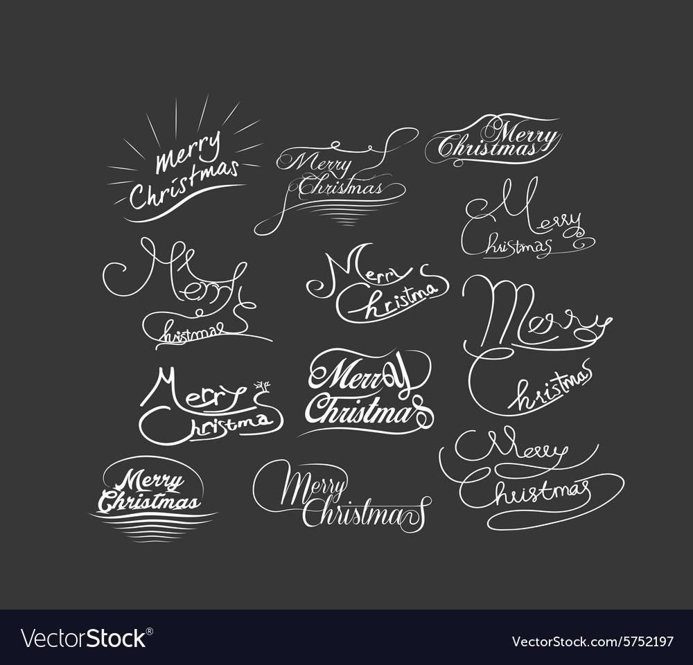 Hand Lettered Christmas Greetings Handmade Vector Image
