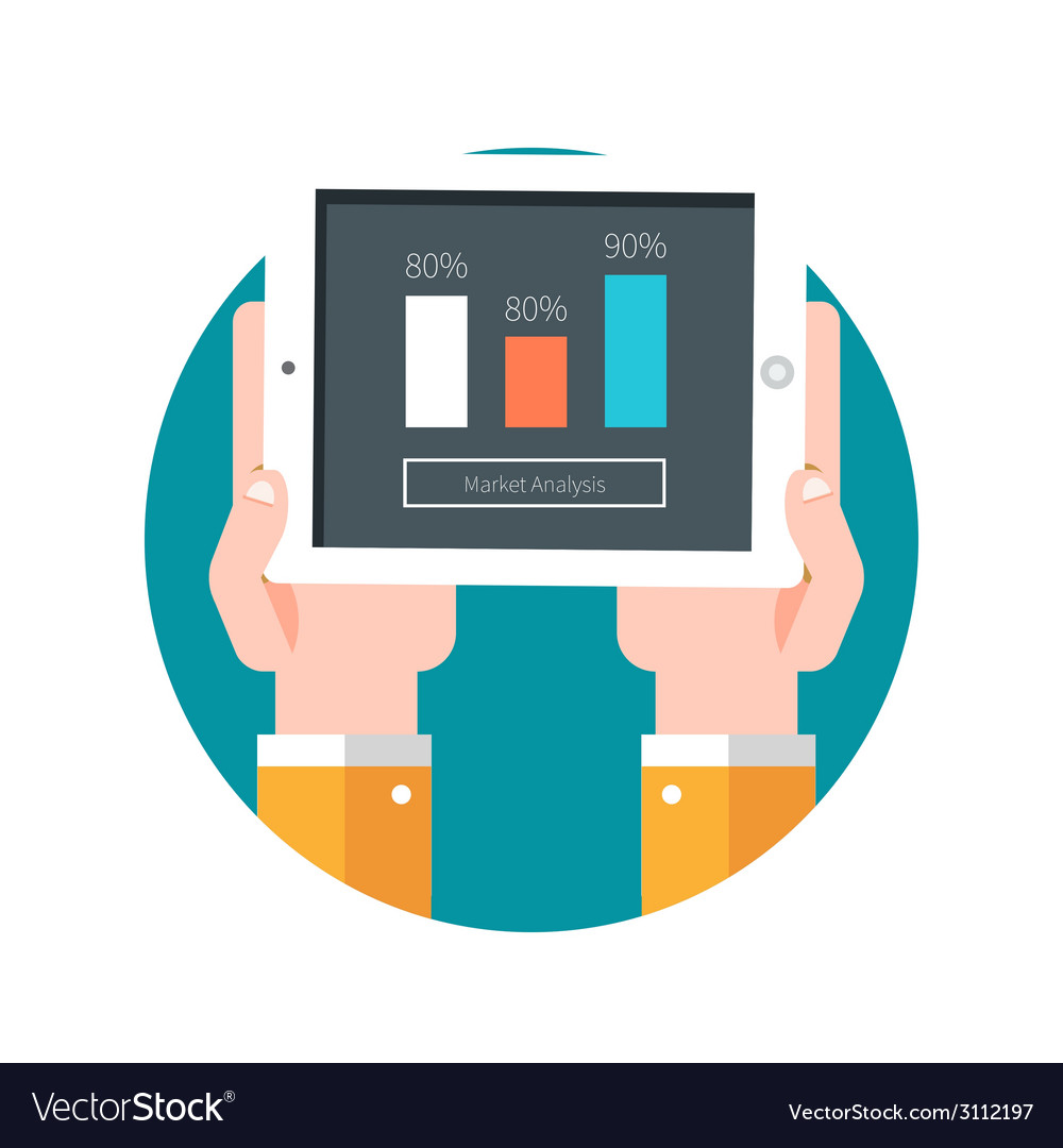 Hands hold tablet PC with graphs vector image