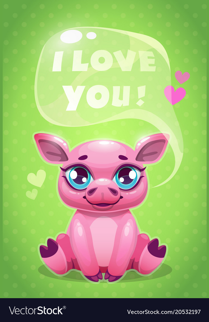 Little cute cartoon sitting pig saying i love you vector image thecheapjerseys Gallery