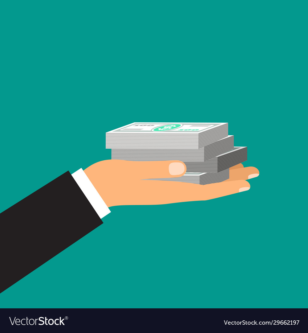 Male hand holds a stack dollars