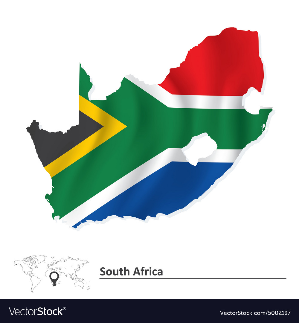 Flag Map Of Africa.Map Of South Africa With Flag Royalty Free Vector Image