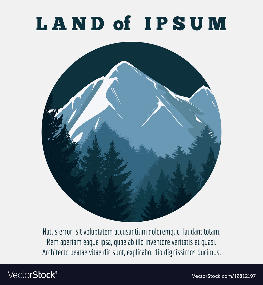 Mountain and pine forest travel banner vector image