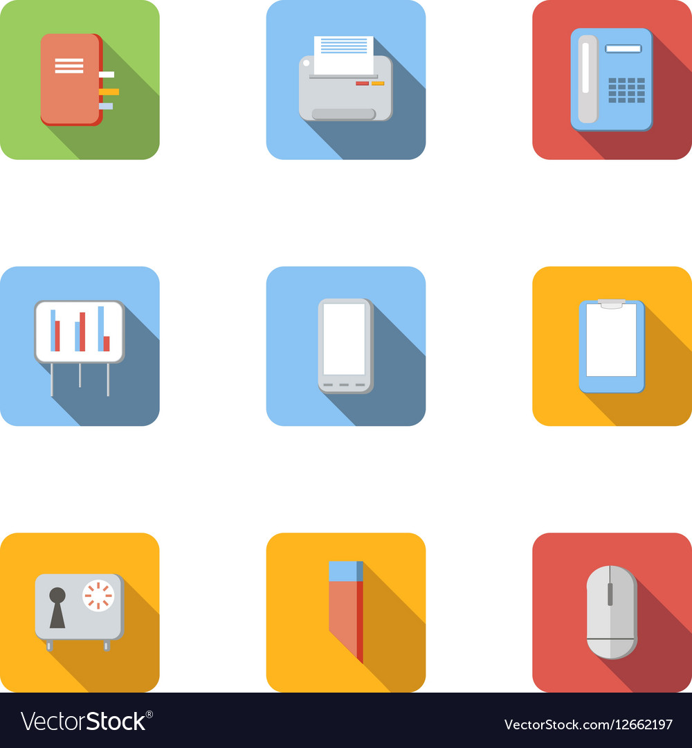 Office icons set flat style