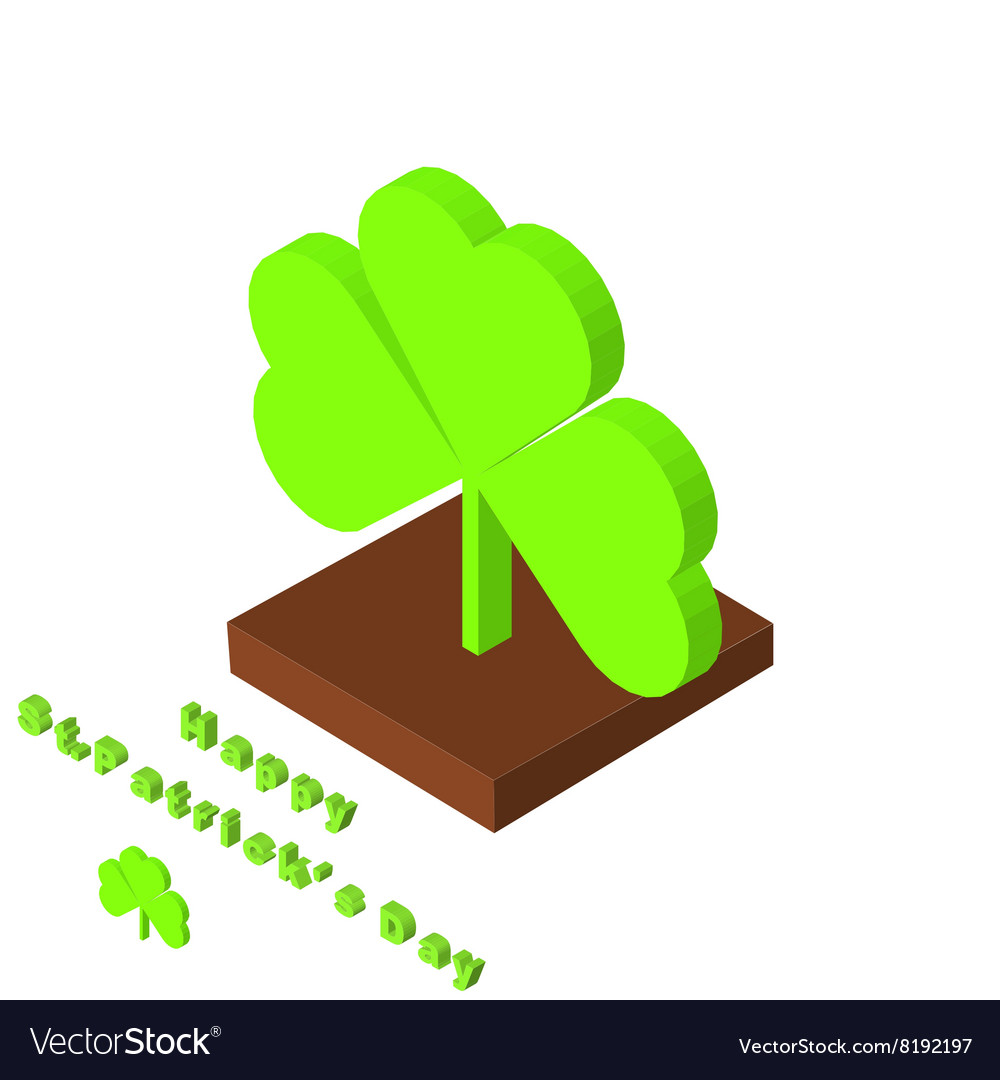 St Patricks day background with clover Isometric