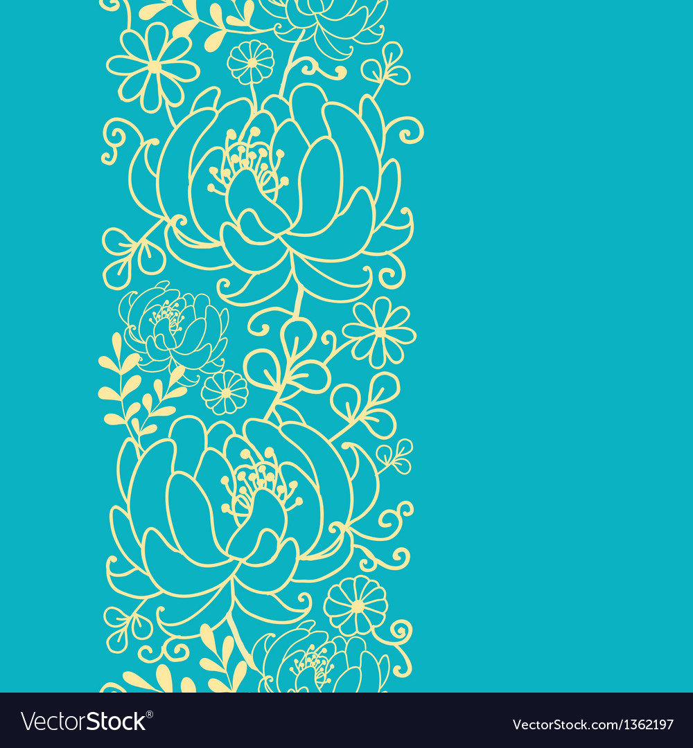 Yellow And Blue Flowers And Leaves Vertical Vector Image