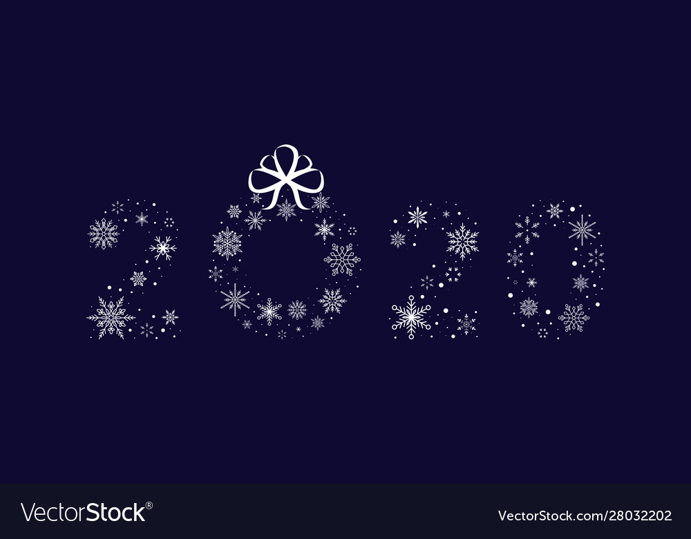 2020 snowflakes with christmas wreath new year