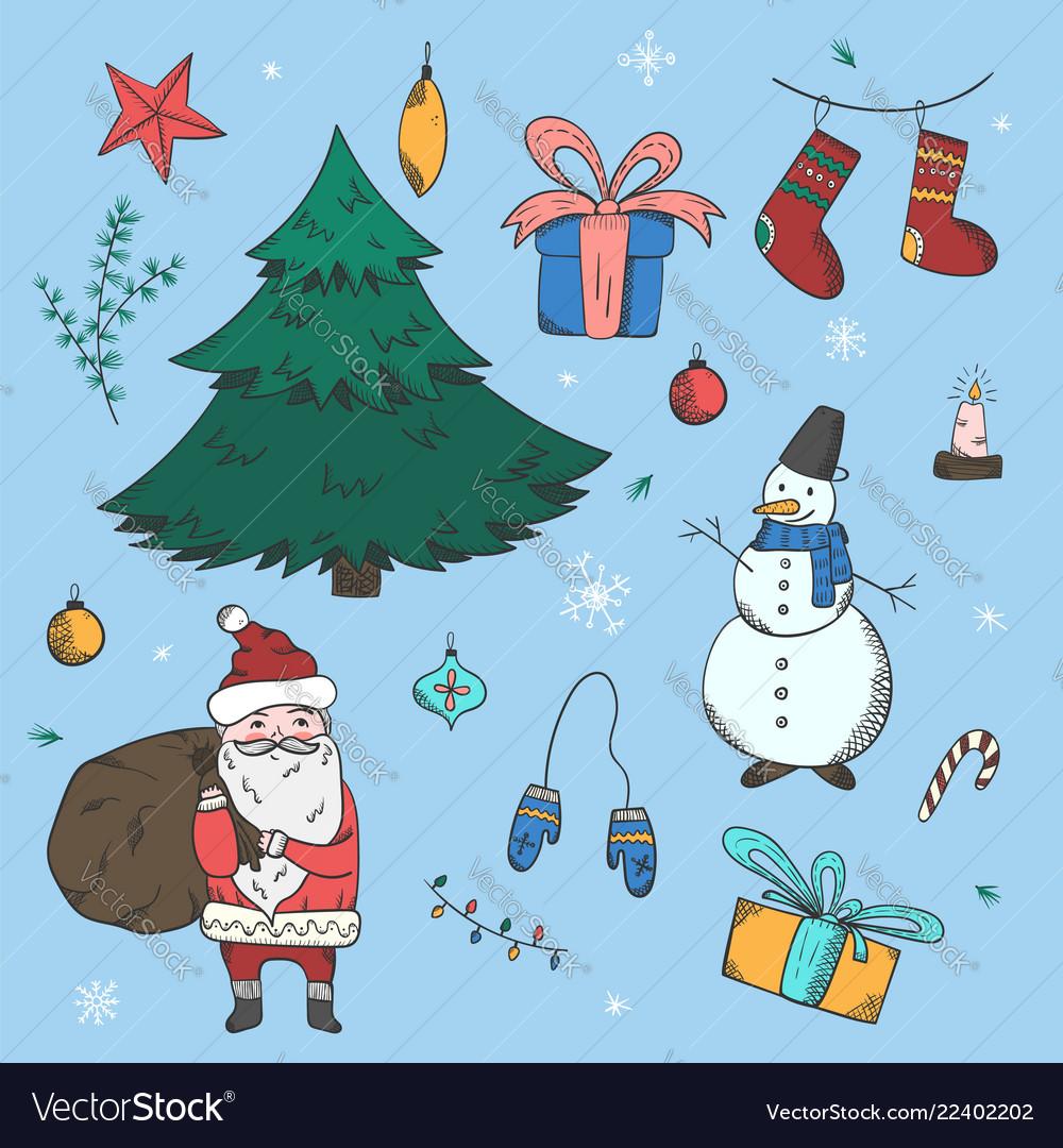 Big colorful set of doodle christmas elements