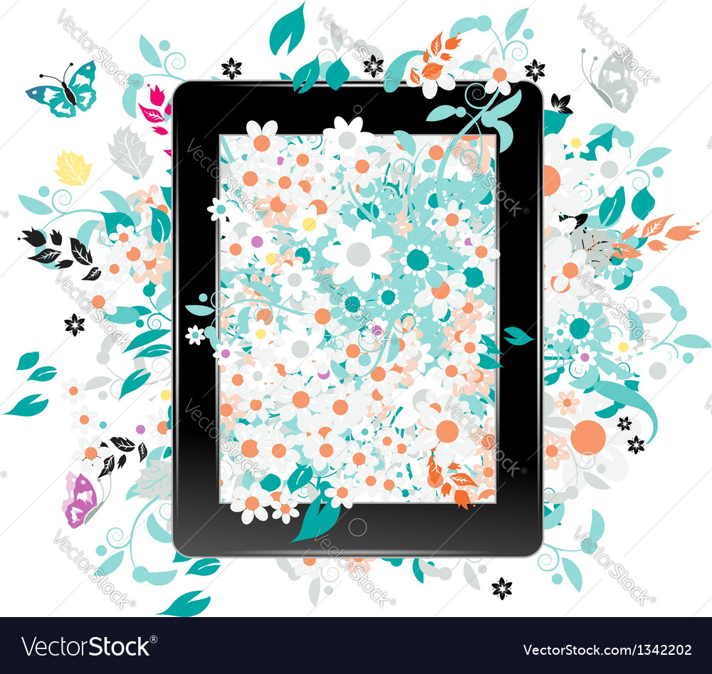 Black abstract tablet pc with floral decoration