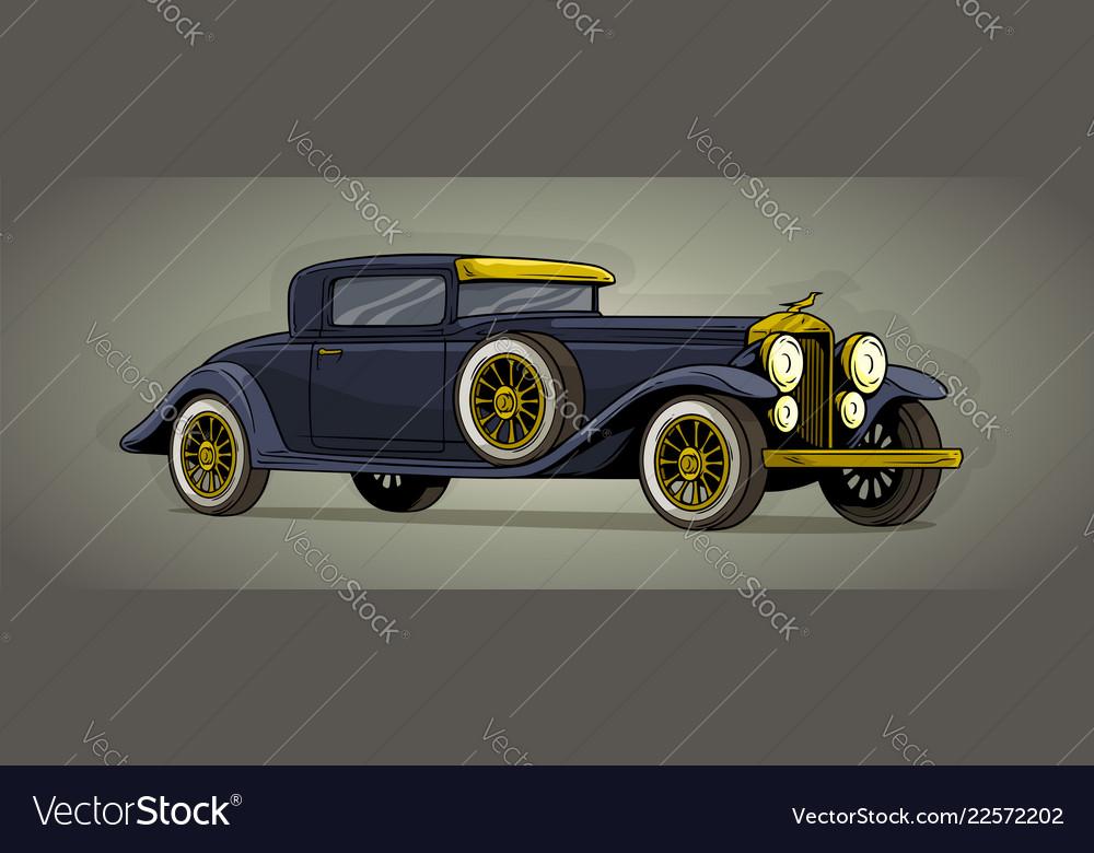 Cartoon Retro Vintage Luxury Car Icon Royalty Free Vector