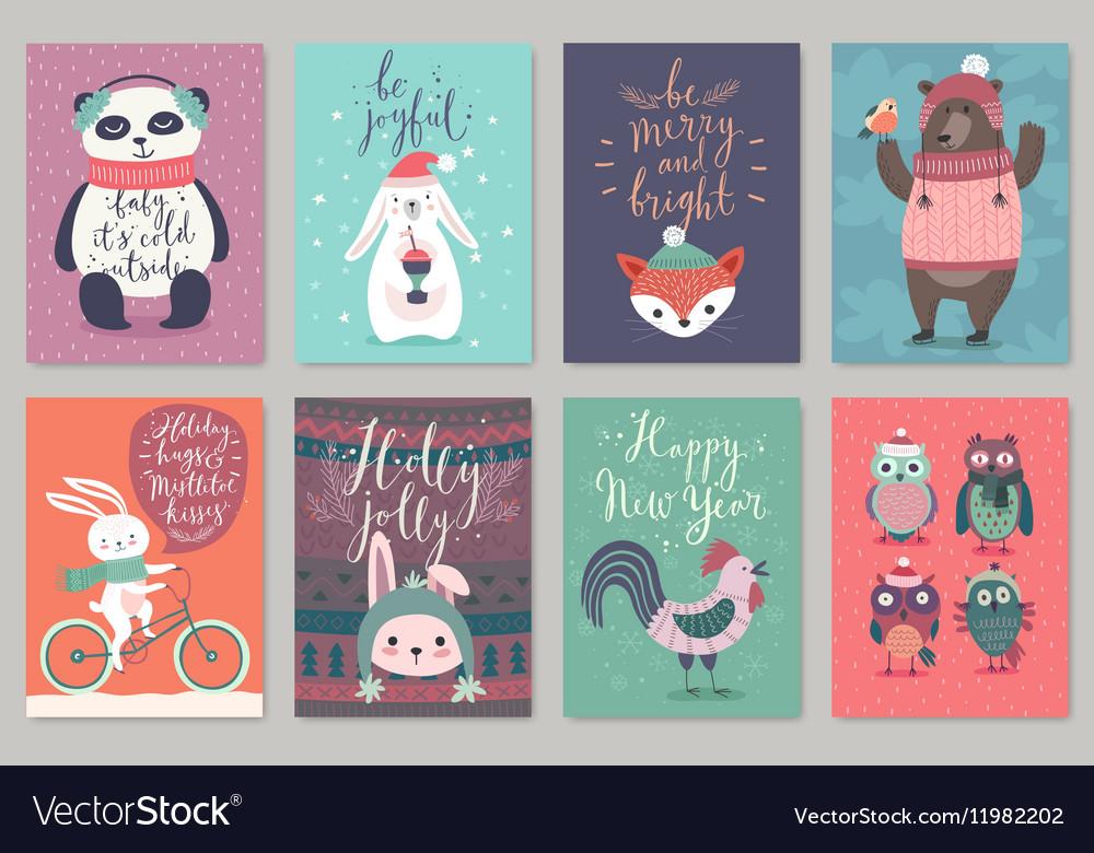 Christmas animals card set hand drawn style