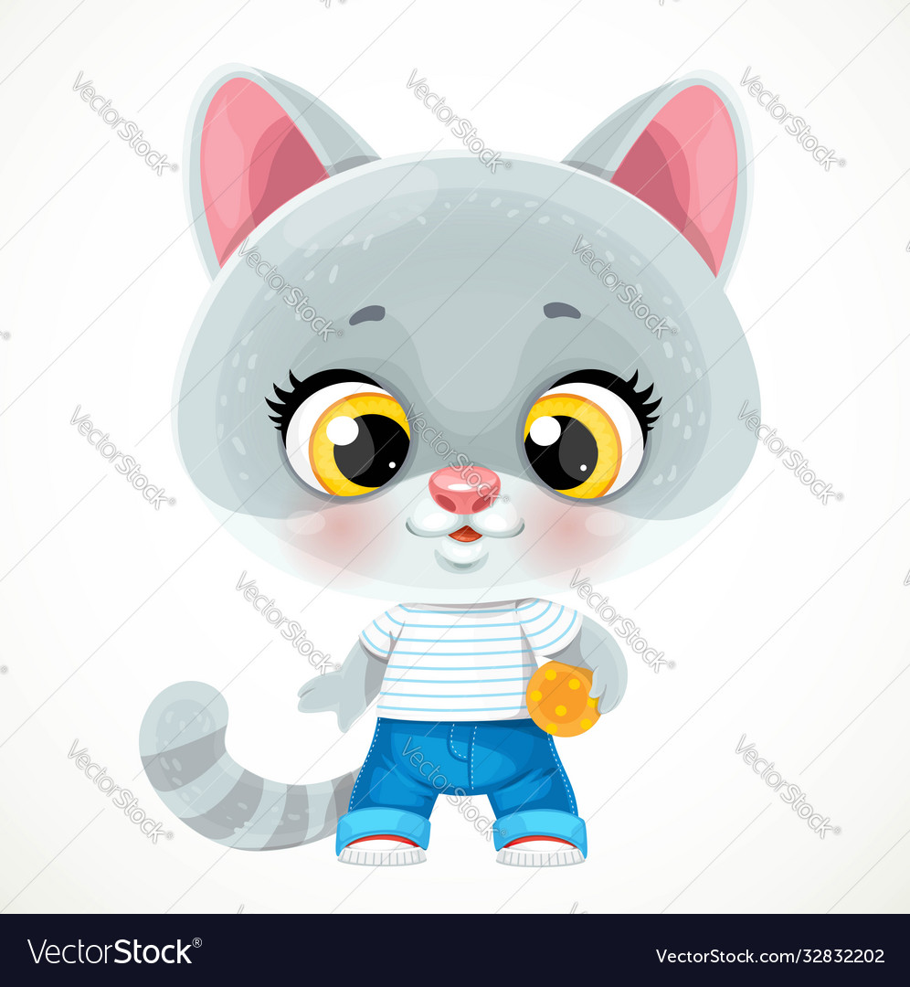 Cute cartoon baby cat with ball isolated