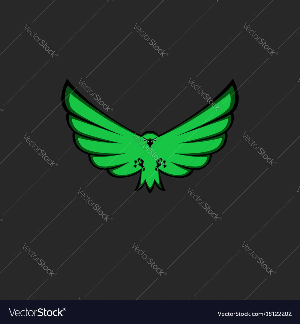 Eagle mascot emblem of green color for esport team vector image
