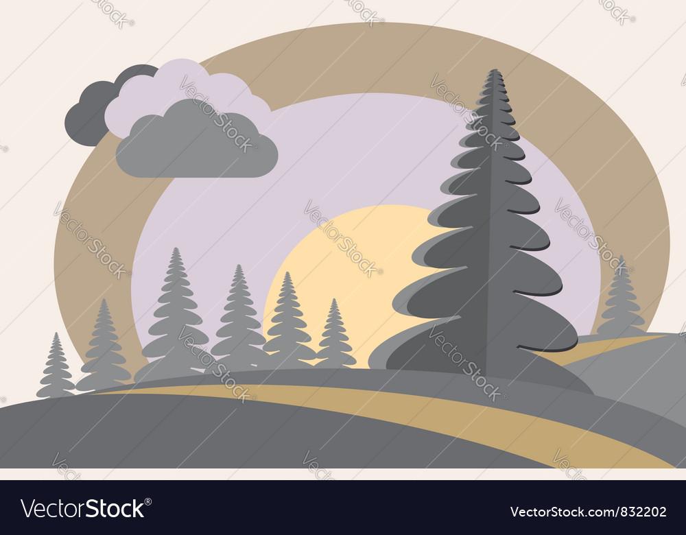 Fir tree hills sun cloud