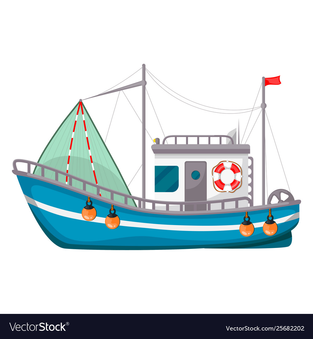 Fishing boat ship to catch fish in sea or river
