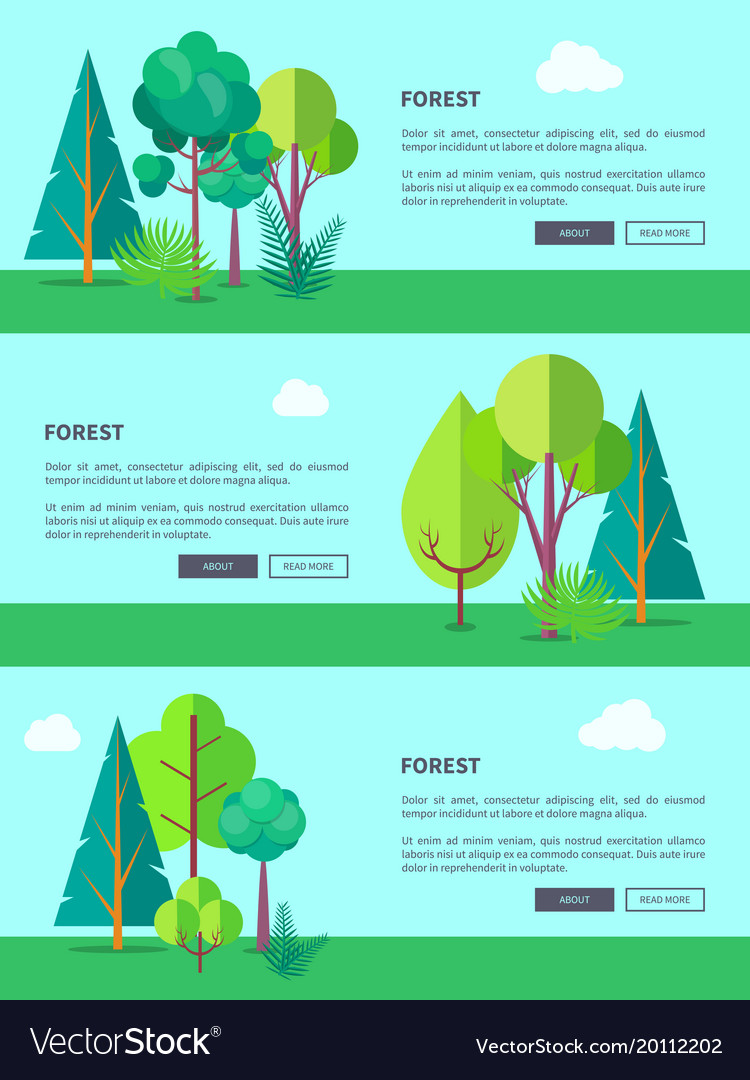 Forest web banner with trees and bushes