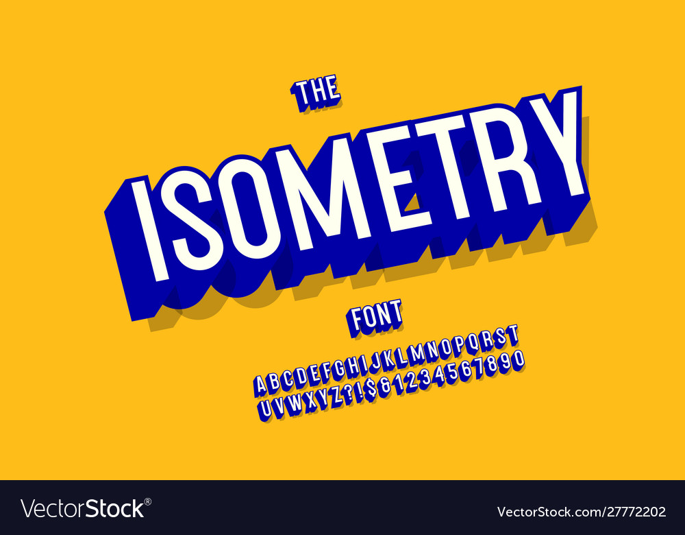 Isometry font 3d bold style for