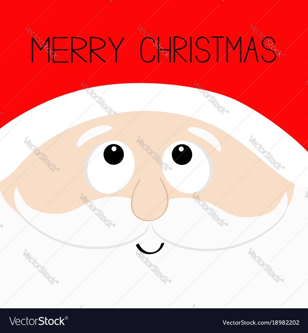 Merry christmas santa claus head face looking up vector image
