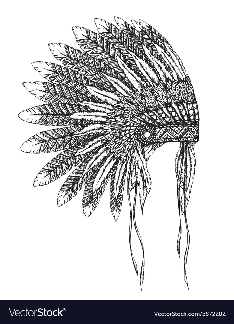 Native American indian headdress with feathers in