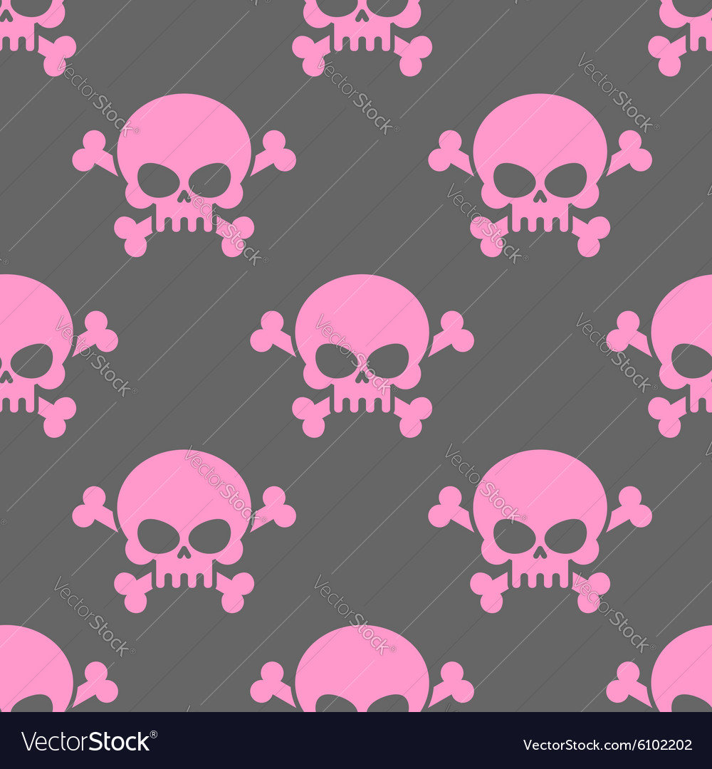 Pink skull on a grey background seamless pattern