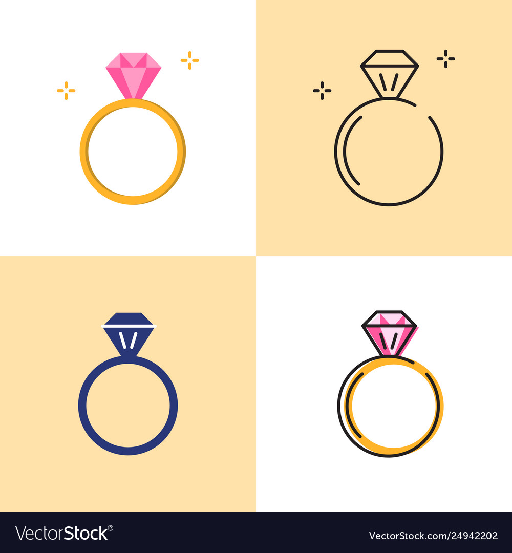 Ring with diamond icon set in flat and line styles