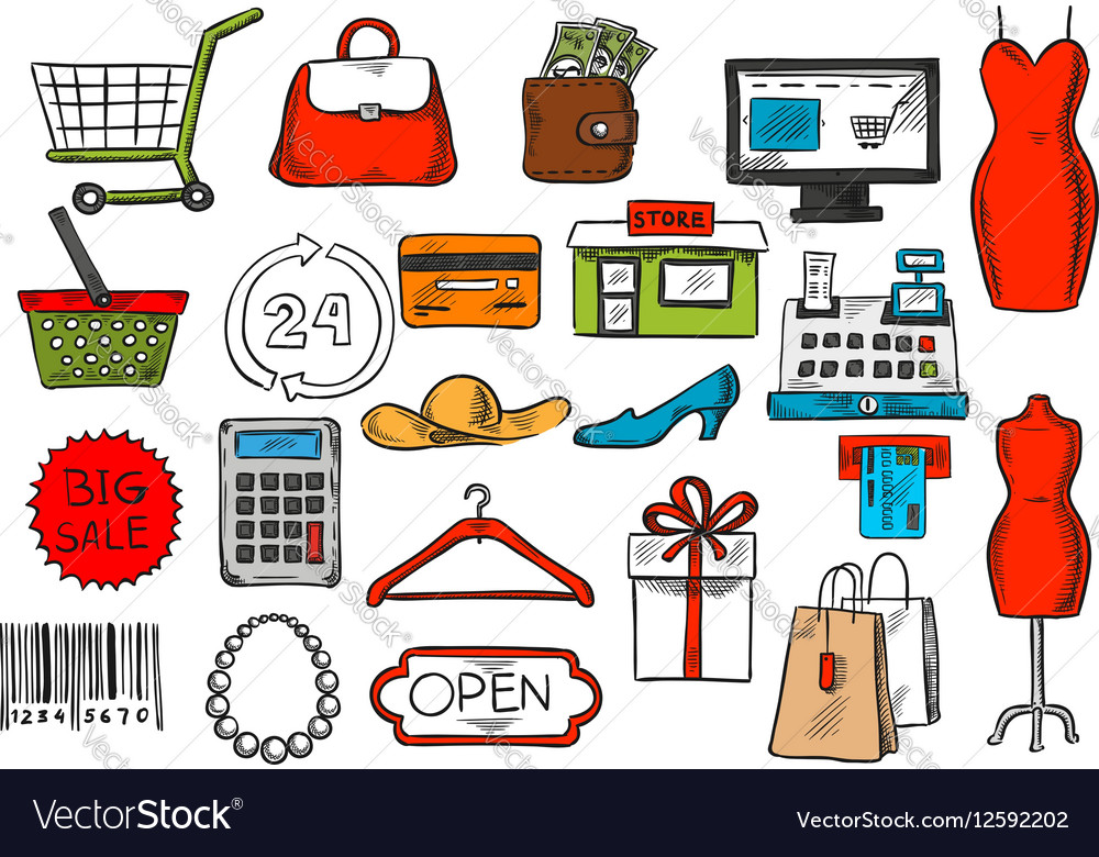 Shopping and retail sketch isolated icons