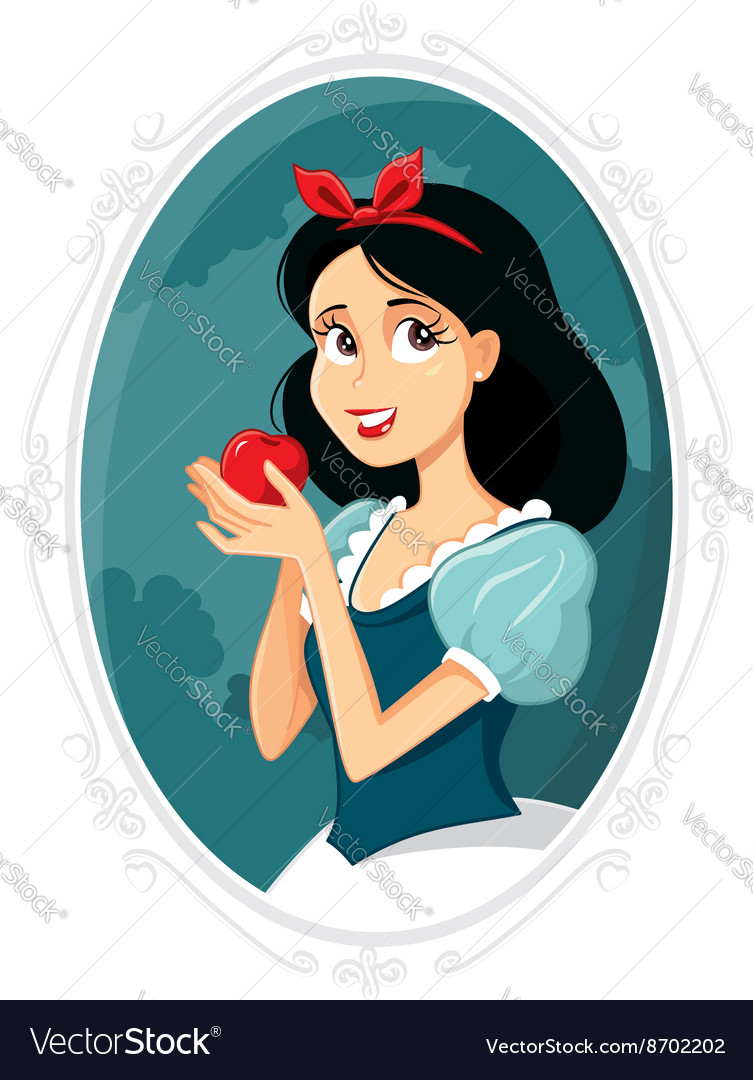 Snow White Holding Apple vector image