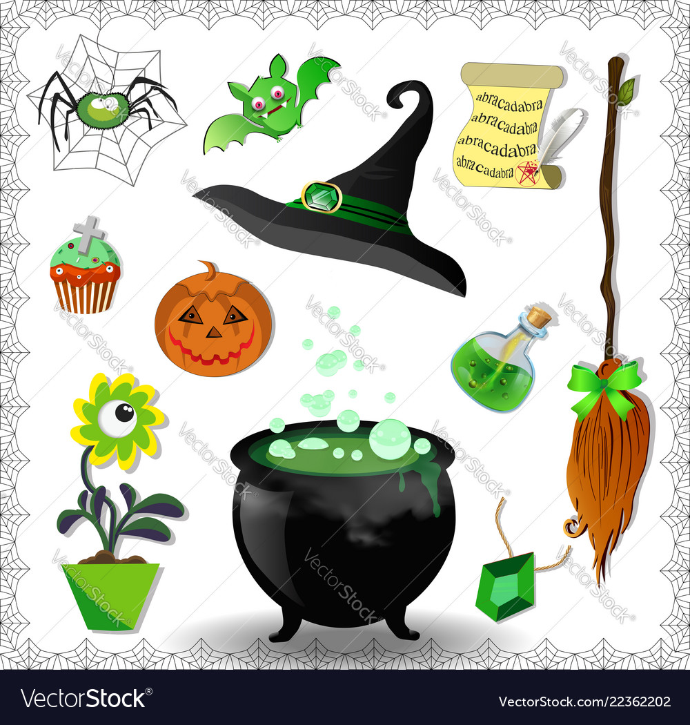 Witch accessories set in green color isolated on Vector Image