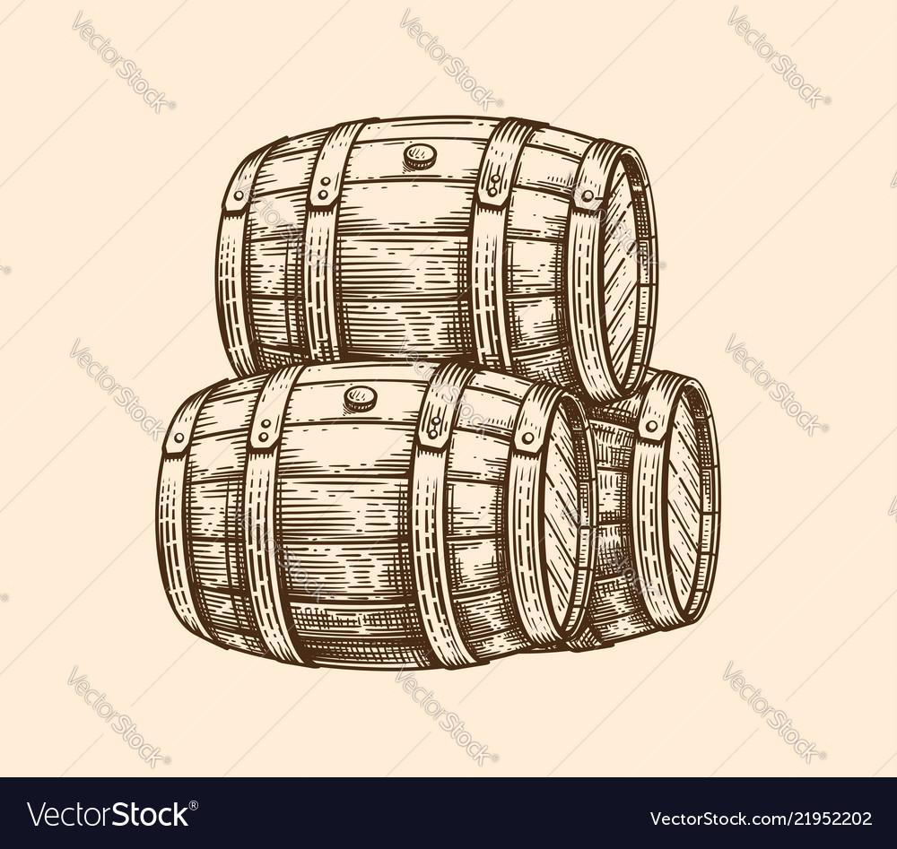 Wood old barrel